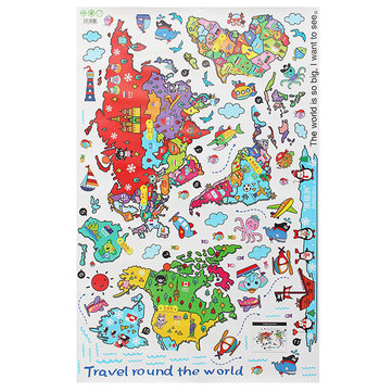 Colorful Cartoon Animals World Map Home Decal PVC Removable Wall Stickers