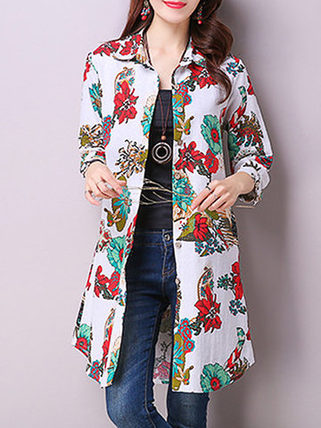 Floral Printed Long Sleeve Lapel Vintage Long Blouse For Women