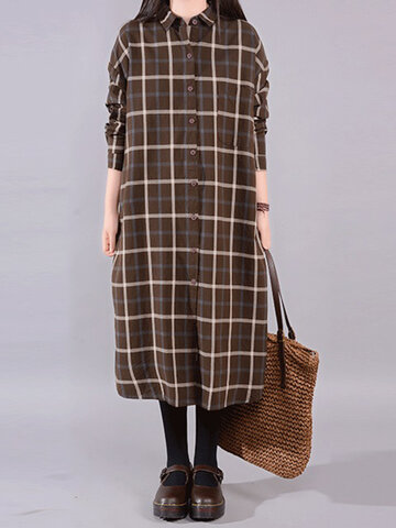 Gracila Vintage Plaid Print Loose Lapel Long Sleeve Women Dresses