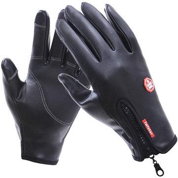 Полные Пальцы Мужские Наружные Теплые Кожаные Ветрозащитные Водонепроницаемые Велосипедные Перчатки Сенсорный Экран