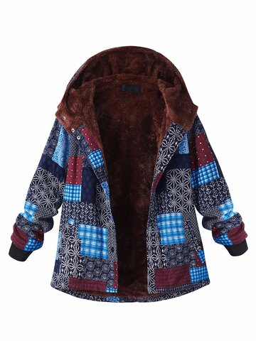 Block Printing Hooded Fleece Thick Coat