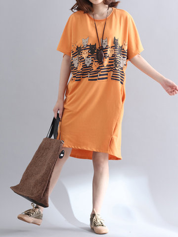 Casual Women Printed Short Sleeve Loose Dresses