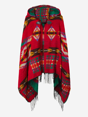 Ethnic Printed Loose Tassel Horn Button Hooded Women Cape