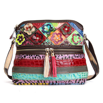 Women Vintage Messenger Bag Genuine Leather Canvas Crossbody Bag Tribal Rucksack Is Worth Buying ...
