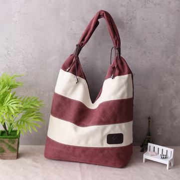 Женщины Холст Полосатая сумка Покупки Сумка Tote