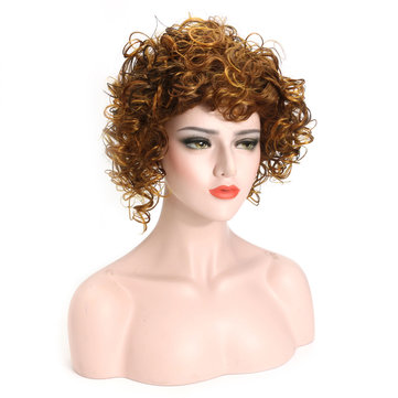 Short Curly Blonde Brown Synthetic Hair Wigs High Temprature Wire Wig For Women