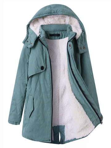 Casual Hooded Pocket Zipper Fly Coats For Women