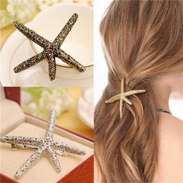 Retro Alloy Metal Shell Starfish Hairpins Side Clip Sea Star Hair Clips Hair Accessories
