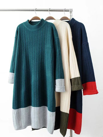 Women Long Sleeve Contrast Color Mid-Long Pullover Sweaters