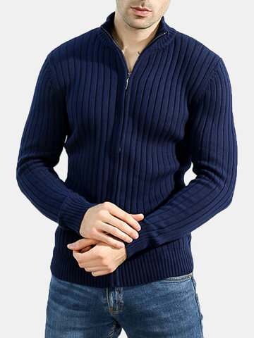 Mens 100%Cotton Casual Solid Oversize Elastic Zip Up Thicken Knit Sweater