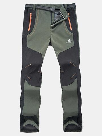 Buy Mens Outdoor Sport Pants Elastic Waist Soft Shell Warm Fleece Lining Waterproof Quick-Dry Trouser