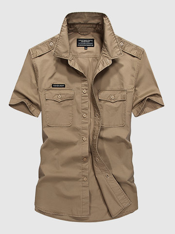 AFSJEEP Cotton Casual Loose Breathable Chest Pockets Short Sleeve Cargo Dress Shirts for Men