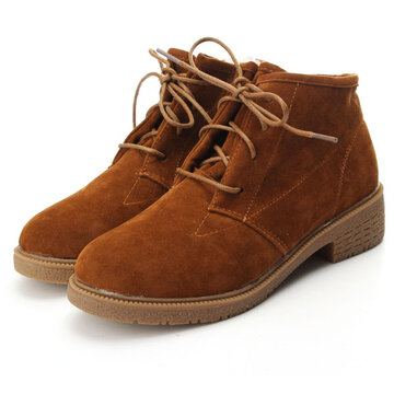 Suede Boots Lace Up Flat Shoes