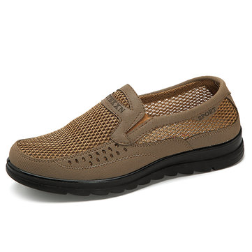 Men Mesh Fabric Splicing Breathable Light Flat Slip On Casual Shoes