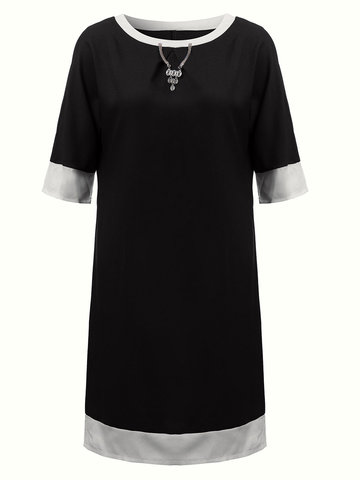 Casual Women Stitching Pure Color Round Collar Cotton Polyester Dress