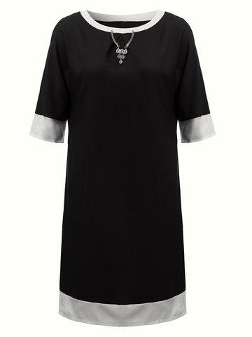Повседневный женщин сшивание чистого цвета круглый воротник хлопок полиэстер платье