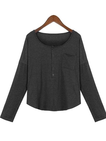 Solid Pockets Casual V-neck Long Sleeve Women Blouse