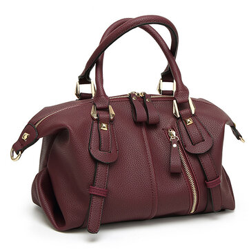 Pure Color PU Leather Handbag