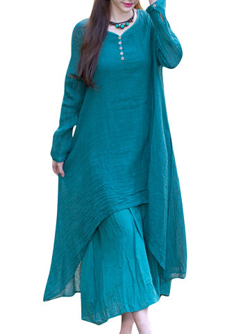 Solid Loose Layered Breathable Ethnic Style Long Sleeve Dress