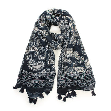 Women Tassel Voile Soft Long Scarves Cashew Pattern National Style Shawl