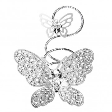 Double Butterfly Rhinestone Twisting Metal Finger Ring