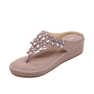 Bohemia Bead Rhinestone Clip Toe Slip On Flat Beach Flip Flops Sandals