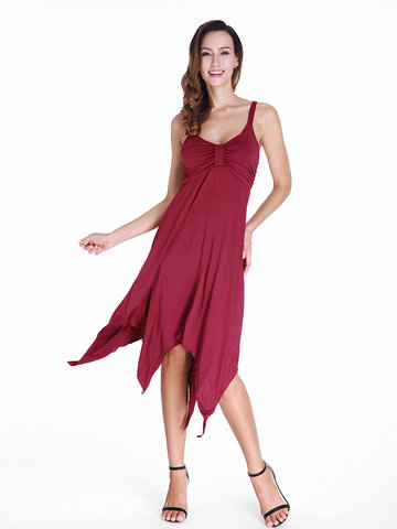 Sexy Solid Color Irregular Hem Sleeveless V-neck Women Dress