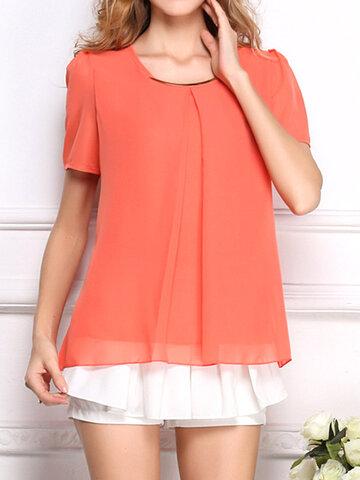 Повседневная шифоновая нерегулярная блузка с длинным рукавом для женщин
