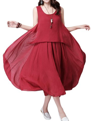 Casual Women Solid Sleeveless Pleated High Low Cotton Linen Dress