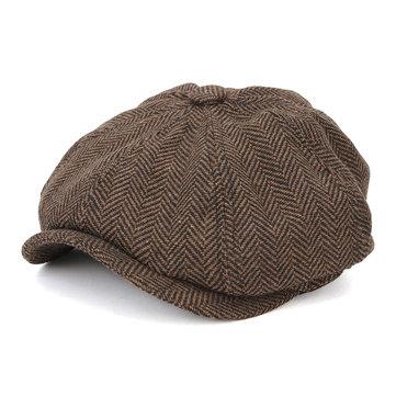 Men Visor Woolen Blending Newsboy Beret Cap Outdoor Casual Winter Cabbie Hat