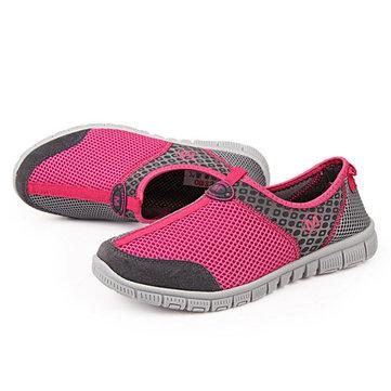 Цветная блокирующая сетка Breathable Soft Slip On Casual Shoes