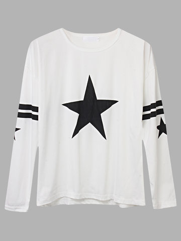 Stars Printed Long Sleeve O Neck T-shirt For Women