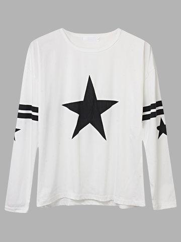 Estrellas impresas manga larga O cuello camiseta para mujer