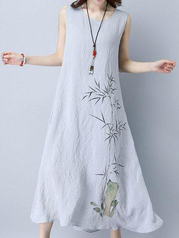 Gracila Bamboo Printed Sleeveless O-neck Loose Hem Women Dresses