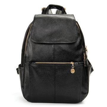 Women Casual PU Leather Backpak Satchel Black School Bags