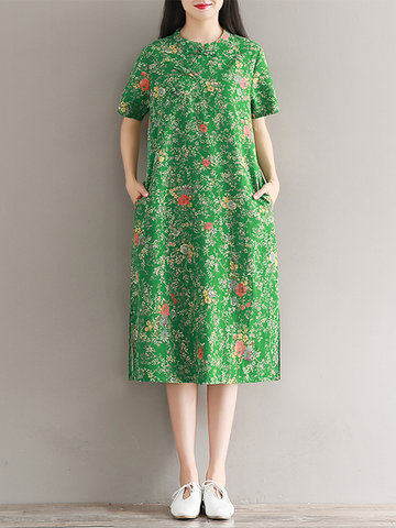 Chinese Style Floral Printed Short Sleeve Side Split Dresses