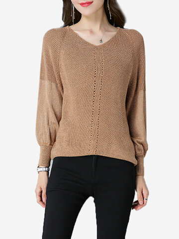Casual Patchwork Hollow Lantern Sleeve V-neck Women Sweaters
