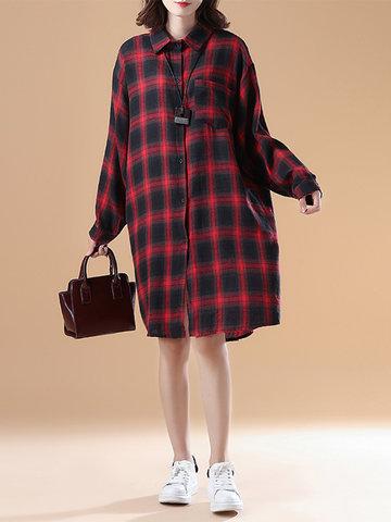 Vintage Plaid Long Sleeve Loose Shirt Dresses For Women