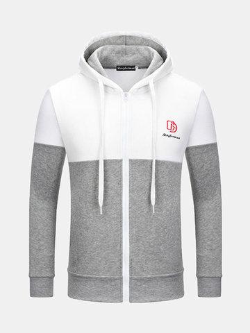 Mens Fashion Stitching Color Zipper Sweatshirt Sport Casual Hoodie