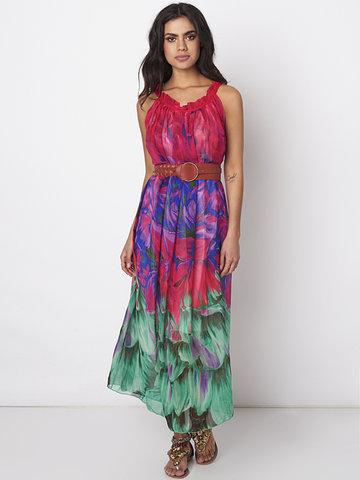 Gracila Women Chiffon Spaghetti Strap Printed Long Maxi Dresses