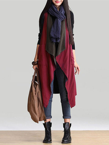 Ethnic Women Autumn Sleeveless Reversible Long Vest Coats
