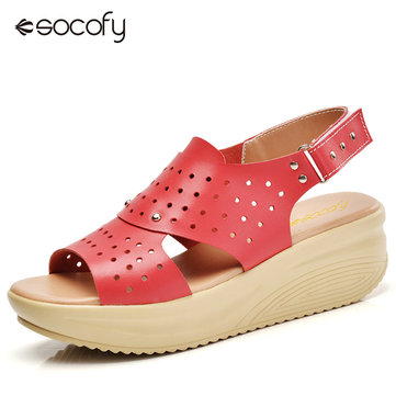 Leather Hollow Out Breathable Button Buckel Platform Soft Comfortable Sandals