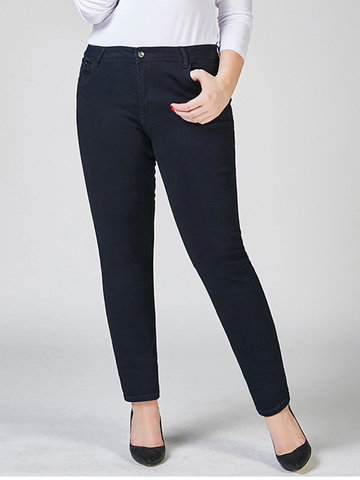 O-NEWE Pantaloni in denim elastici casuali in vita elastica con zip
