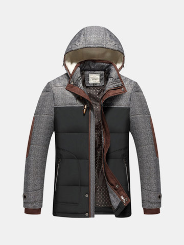 Plus Size Winter Fashion Casual Thicken Stitching Detachable Hood Jacket for Men