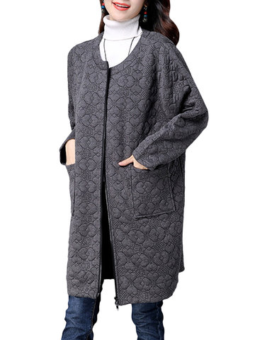 Casual Jacquard Weave Solid Pockets Long Sleeve Vintage Women Coats