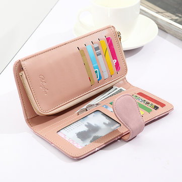 Women 19 Slots Lattice Weaving PU Leather Wallet Card Bag Card Slots Card Holder Bag