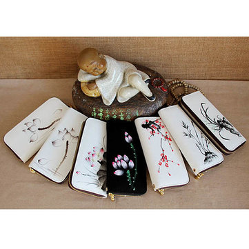 Women Chinese National Style Canvas Casual Short Wallet Card Holder Zipper Purse