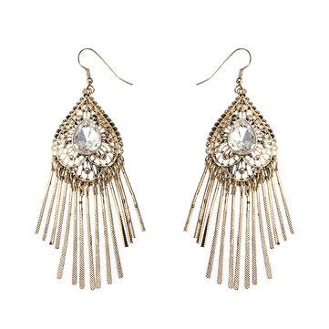 JASSY® Retro Women Earrings 18K Gold Plated Drop Crystal Heart Charm Tassel Ear Drop
