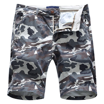 Mens Summer Cotton Breathable Camo Printed Knee Length Slim Fit Casual Shorts