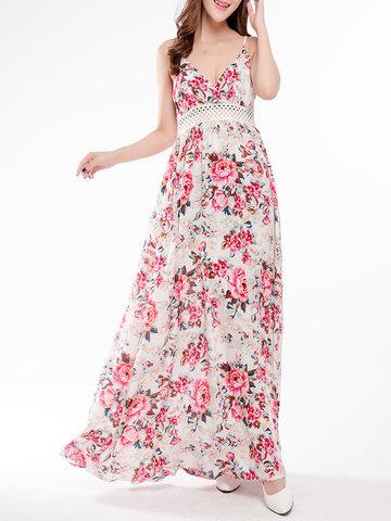 Цветочная печать Sexy Hollow Camisole V-neck Women Maxi Dress
